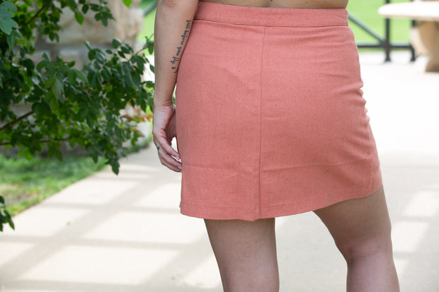 High Waisted Button Down Mini Skirt With Front Pockets - Dusty Peach - Phoebe Jane
