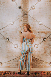Lush - Aqua Multi Stripe Double Tie Jumpsuit - Phoebe Jane