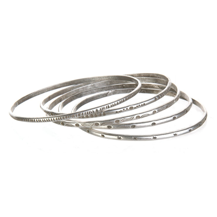 Etched Melody Bangle Bracelet In Silver - Phoebe Jane