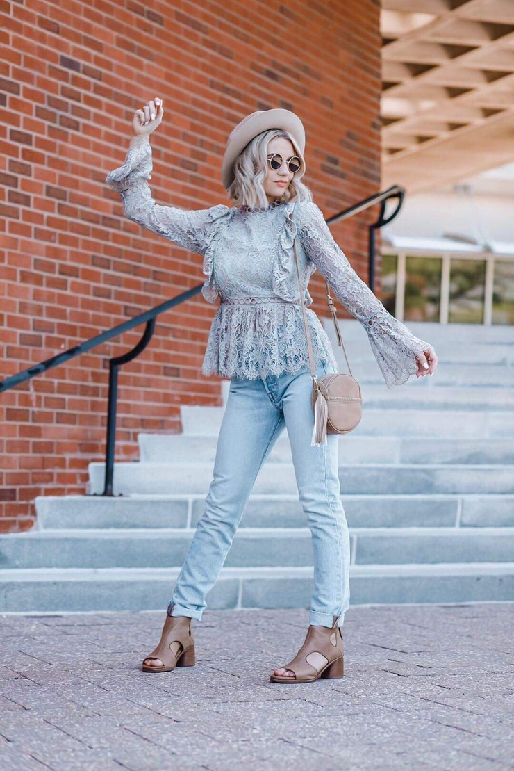 Long Sleeve Lace Scallop Hem Top With Ruffle Detail In Beau Blue - Phoebe Jane