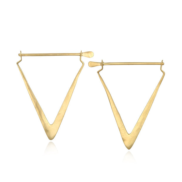 Simple Strength Triangle Hoop Earring In Gold - Phoebe Jane