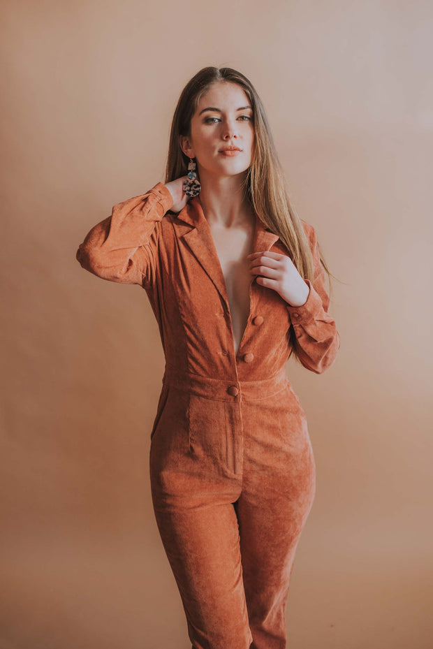 Corduroy Jumpsuit In Copper - Phoebe Jane
