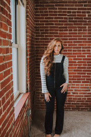 Front Zip Overall Style Jumpsuit In Navy - Phoebe Jane
