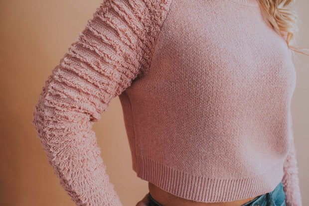 Frilled Sleeve Detail Sweater In Mauve - Phoebe Jane