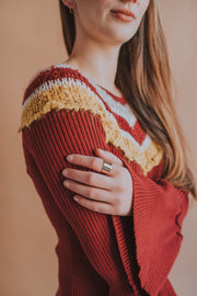 Long Bell Sleeve V-Neck Sweater In Burgundy - Phoebe Jane