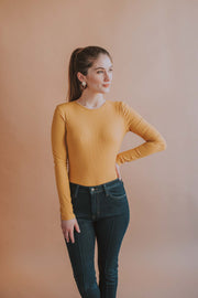 Long Sleeve Open Back Satin Tie Bodysuit In Mustard - Phoebe Jane