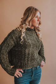 Chenille Long Sleeve Sweater -  Olive - Phoebe Jane
