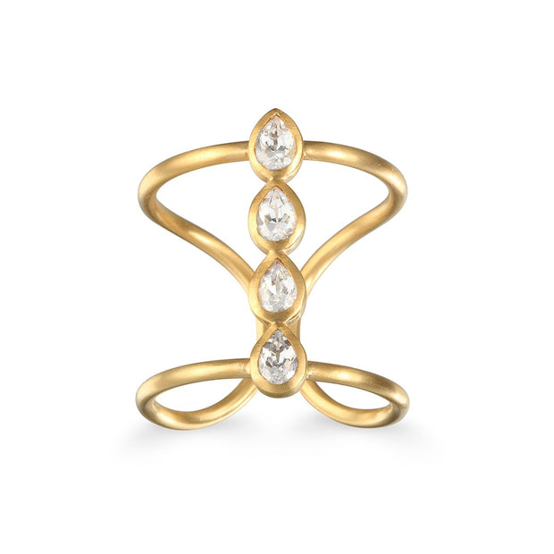 Transcendental Journey Ring Gold And White Topaz - Phoebe Jane