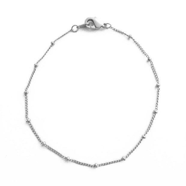 Beaded Chain Bracelet In Silver - Phoebe Jane