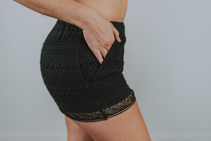 Crochet Lace Shorts In Black - Phoebe Jane