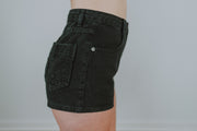 High Waisted Denim Shorts With Star Pocket In Black - Phoebe Jane