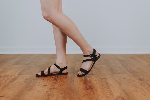 Flat Ankle Buckle Sandal -  Black - Phoebe Jane