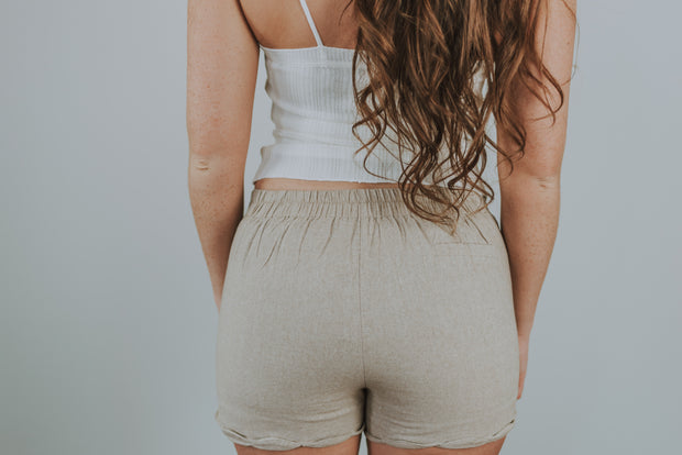 Scallop Hem Dress Shorts In Taupe - Phoebe Jane