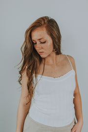 Lightweight Sweater Cami In Ivory - Phoebe Jane