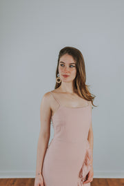Ruffle Front Detail Dress In Pink - Phoebe Jane