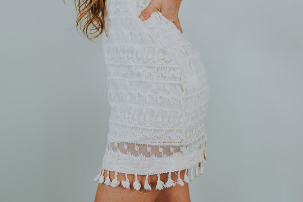 Lush - Embroidery Mesh Tie Strap Dress In Natural - Phoebe Jane
