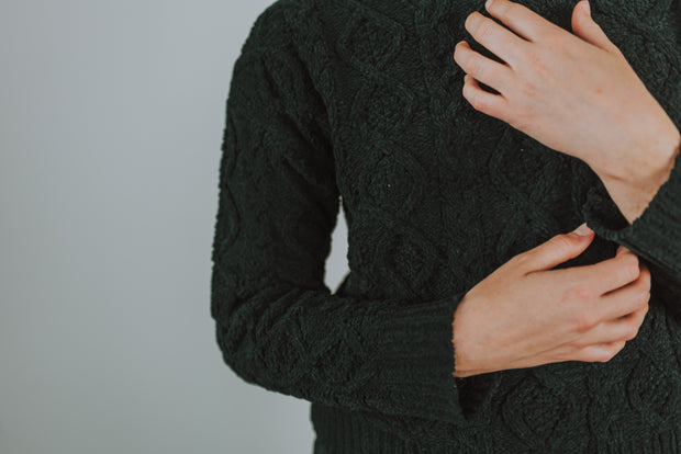 Cable Knit Sweater Lounge Top In Black - Phoebe Jane