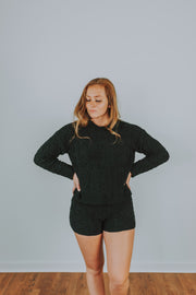 Cable Knit Sweater Lounge Shorts In Black - Phoebe Jane