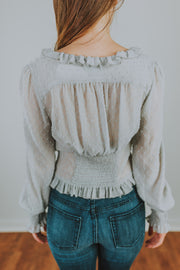 V-Neck Gathered Waist And Ruffle Front Top In Light Grey - Phoebe Jane