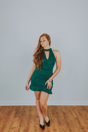 Choker Neck Sleeveless Cocktail Dress With Ruffle Hem Details - Green - Phoebe Jane