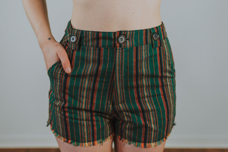 Striped High Waisted Shorts In Green Multi - Phoebe Jane