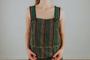 Striped Tank Top With Fringe Detail and Buttons In Green Multi - Phoebe Jane