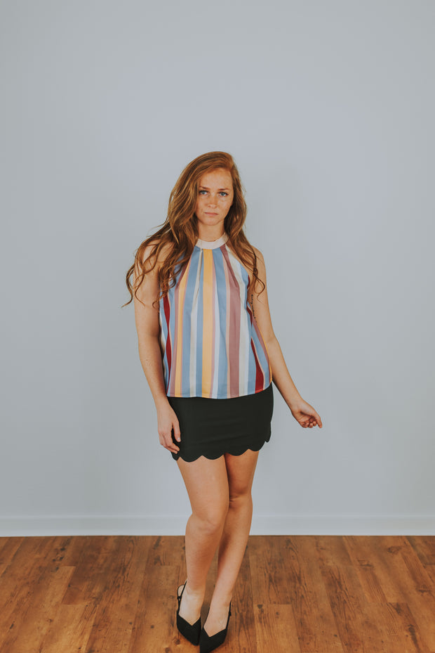 Lush - Lavender-Brown Pastel Stripe Halter Top - Phoebe Jane