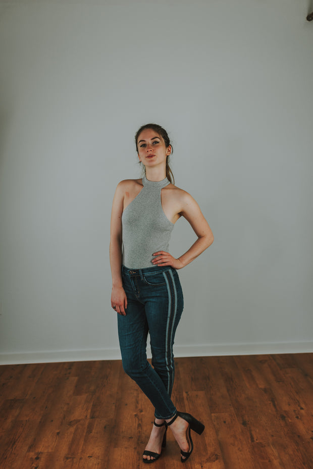 Mock Neck Knit Bodysuit In Heather Grey - Phoebe Jane