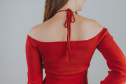 Halter Neck Lightweight Sweater In Red - Phoebe Jane