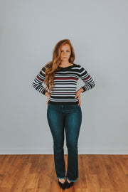 Long Sleeve Stripe Knit Top In Multi Stripe - Phoebe Jane