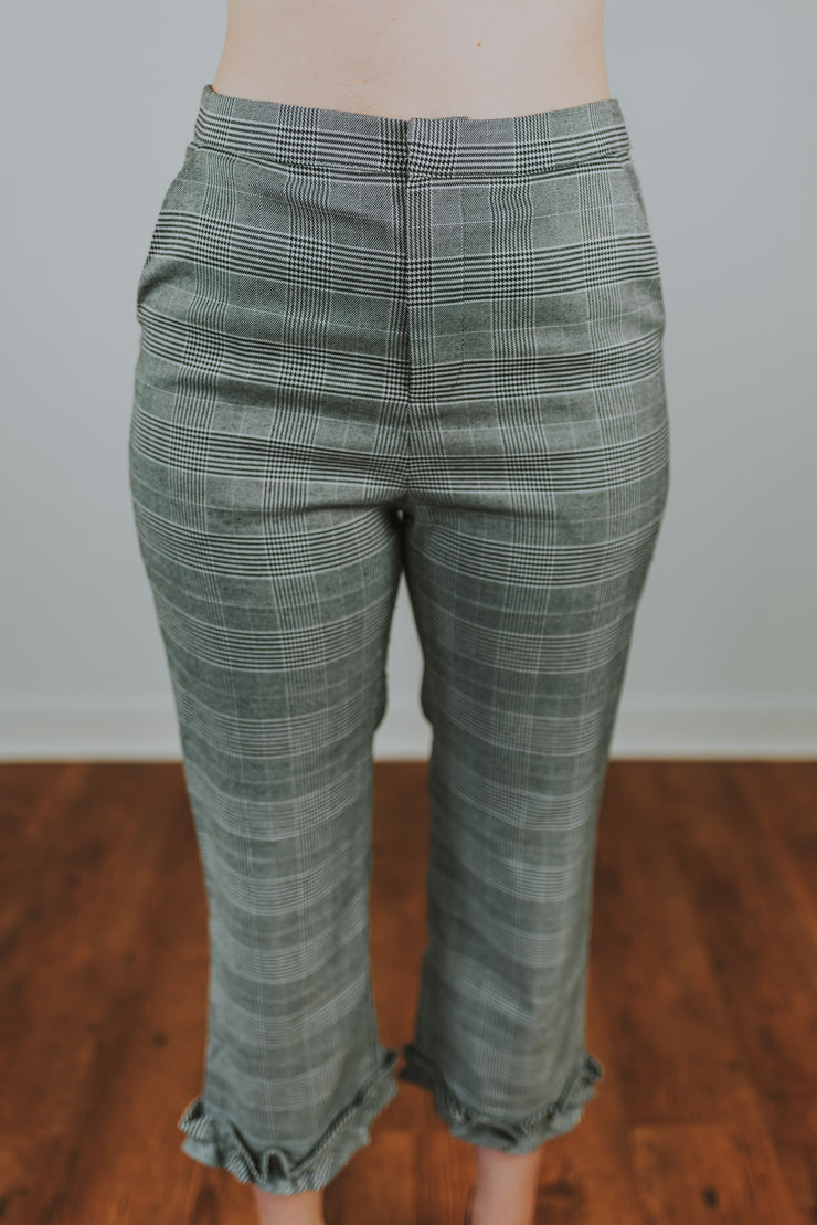 SugarLips - Society Plaid Cropped Trousers With Ruffle Hem Detailing In Grey Plaid - Phoebe Jane