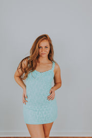 Ruffle Shoulder Strap Lace Knit Dress  In Aqua - Phoebe Jane