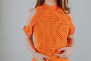 SugarLips - Rosario Halter Crop Top With Ruffle Detailing In Orange Red - Phoebe Jane