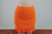 SugarLips - Rosario Mini Skirt With Ruffle Detailing In Orange Red - Phoebe Jane