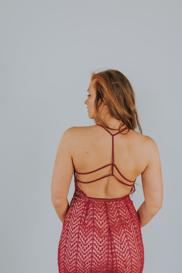 Lace Dress With Strappy Back Detailing - Redplum - Phoebe Jane