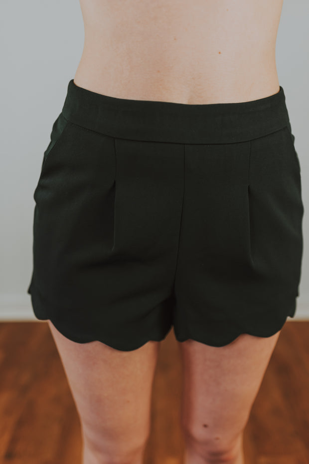 Scallop Hem Dress Shorts In Charcoal - Phoebe Jane