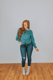Hem And Thread - Front Lace-Up Balloon Sleeve Sweater In Teal - Phoebe Jane