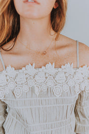 Shirred Lace Applique Off Shoulder Top In Taupe - Phoebe Jane
