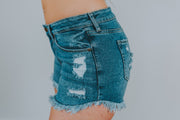 Frayed Hem Destroyed Denim Shorts - Phoebe Jane