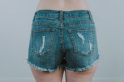 Light Denim Destroyed Fray Hem Shorts - Phoebe Jane