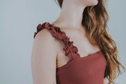 Knit Ruffle Shoulder Strap Dress In Wine - Phoebe Jane