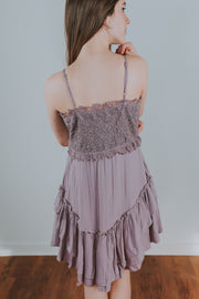 Textured Woven Frill Dress With Crochet Top Detail In Mauve - Phoebe Jane