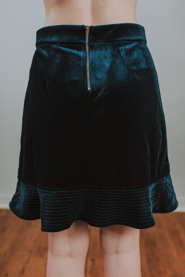 SugarLips - Wells Flounce Mini Skirt In Velvet Navy - Phoebe Jane