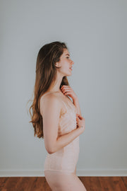 Lace Bodysuit With Sweatheart Neckline and Hook and Eye Back Closure Detailing In Peach - Phoebe Jane