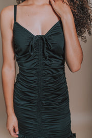 Spaghetti Strap Sweetheart Ruched Mini Dress In Black - Phoebe Jane