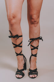 Ankle Wrap Tie Heel In Black - Phoebe Jane
