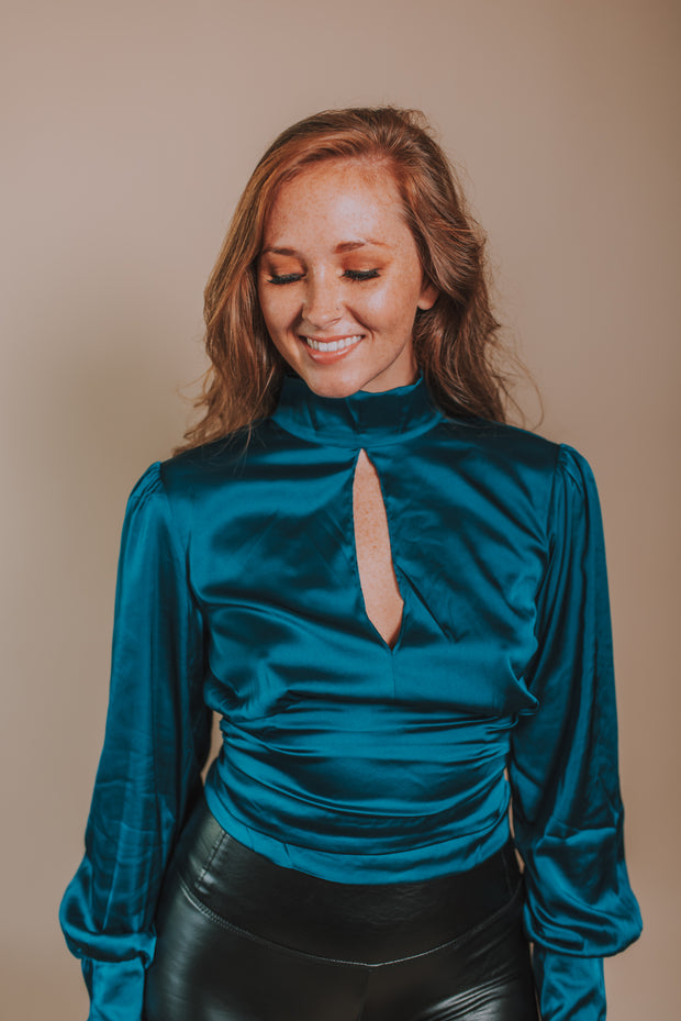 SugarLips - First Love Satin Gathered Mock Neck And Open Tie Back Top In Blue Teal - Phoebe Jane