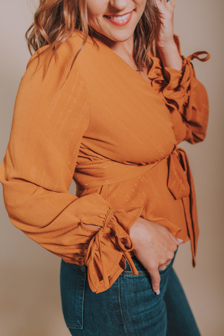 Long Sleeve Woven Shirt With Front Tie and Lurex Detailing In Camel - Phoebe Jane