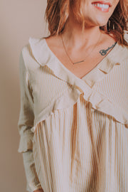 Hem And Thread - V-Neck With Ruffle Detail Blouse In Dusty Mustard - Phoebe Jane