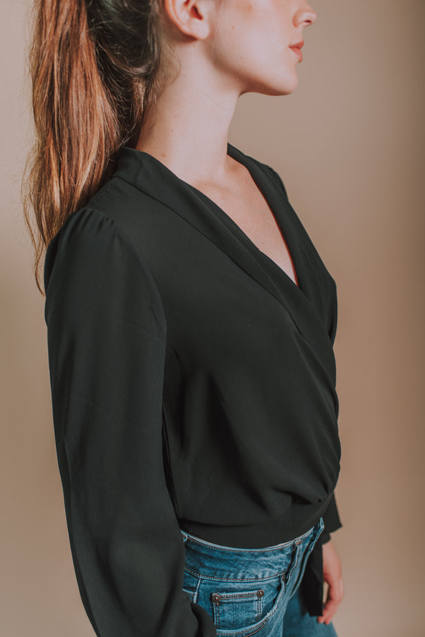 Lush - Long Sleeve Wrap Style Front Tie Shirt In Black - Phoebe Jane